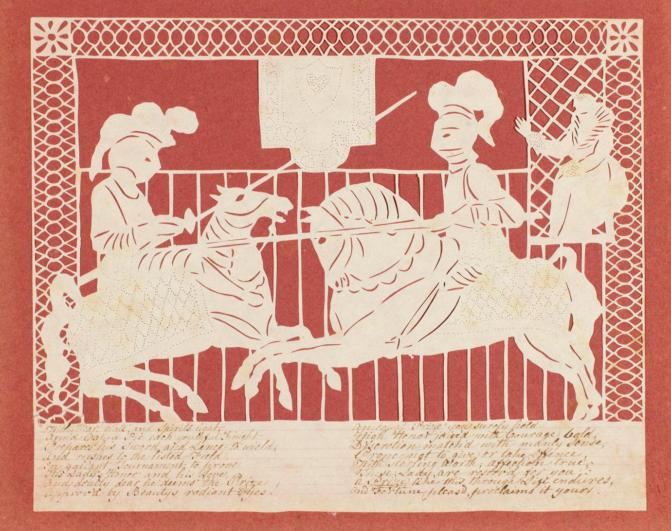 A British cut-paper Valentine card, made by Elizabeth Cobbold around 1810.