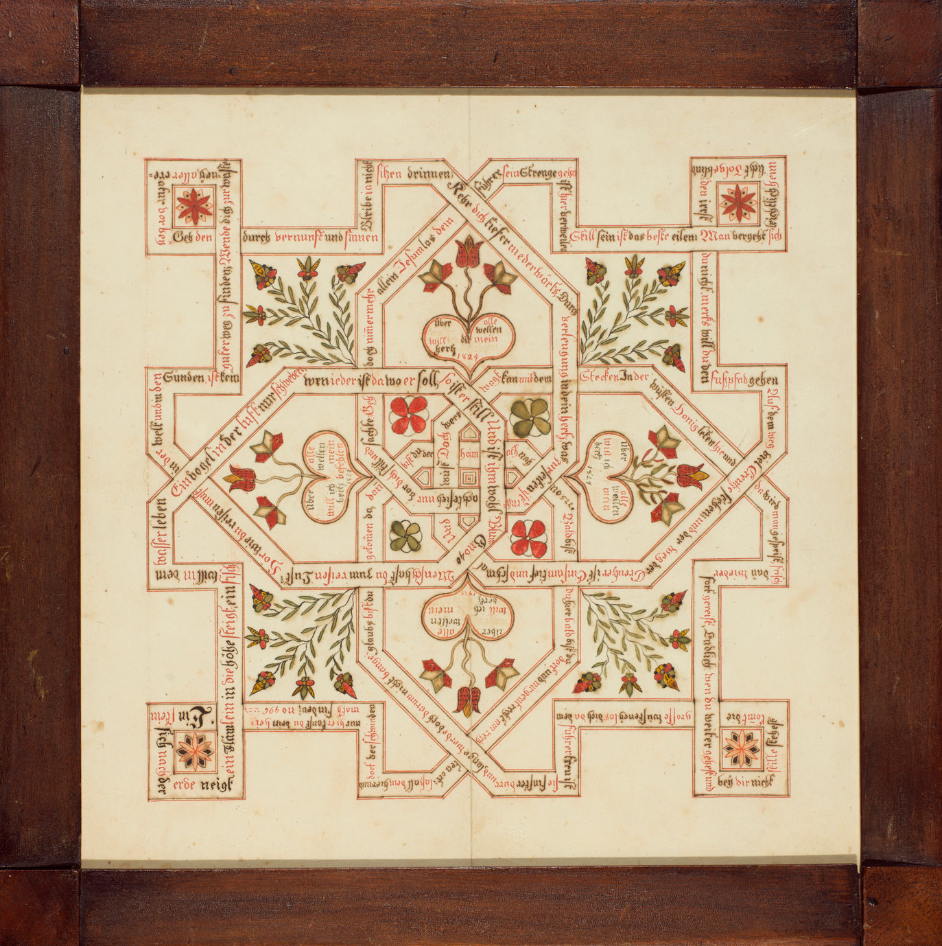 A fraktur labyrinth, a style of Pennsylvania-German folk art, dated 1824. The pattern is designed as an endless knot, offered as a token of affection.