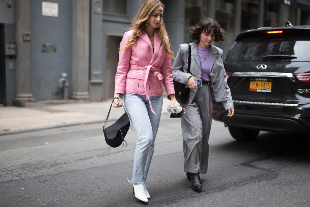 If you're looking to punch up your pantsuit, why not swap in a pastel purple tee?