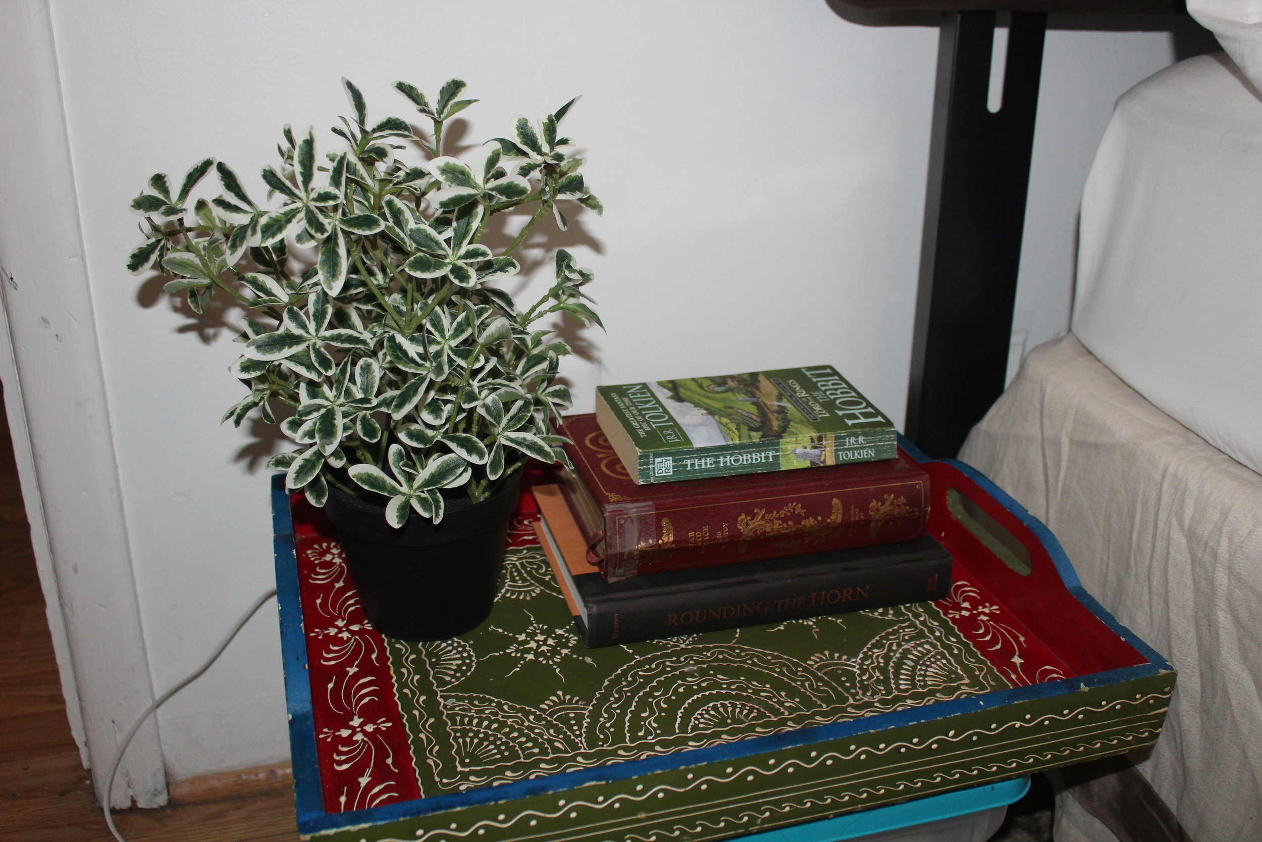 WINTER - Green foliage and a stack of books warm up this bedside table. (The 'table' I created by simply taping a pretty tray onto a storage bin.)