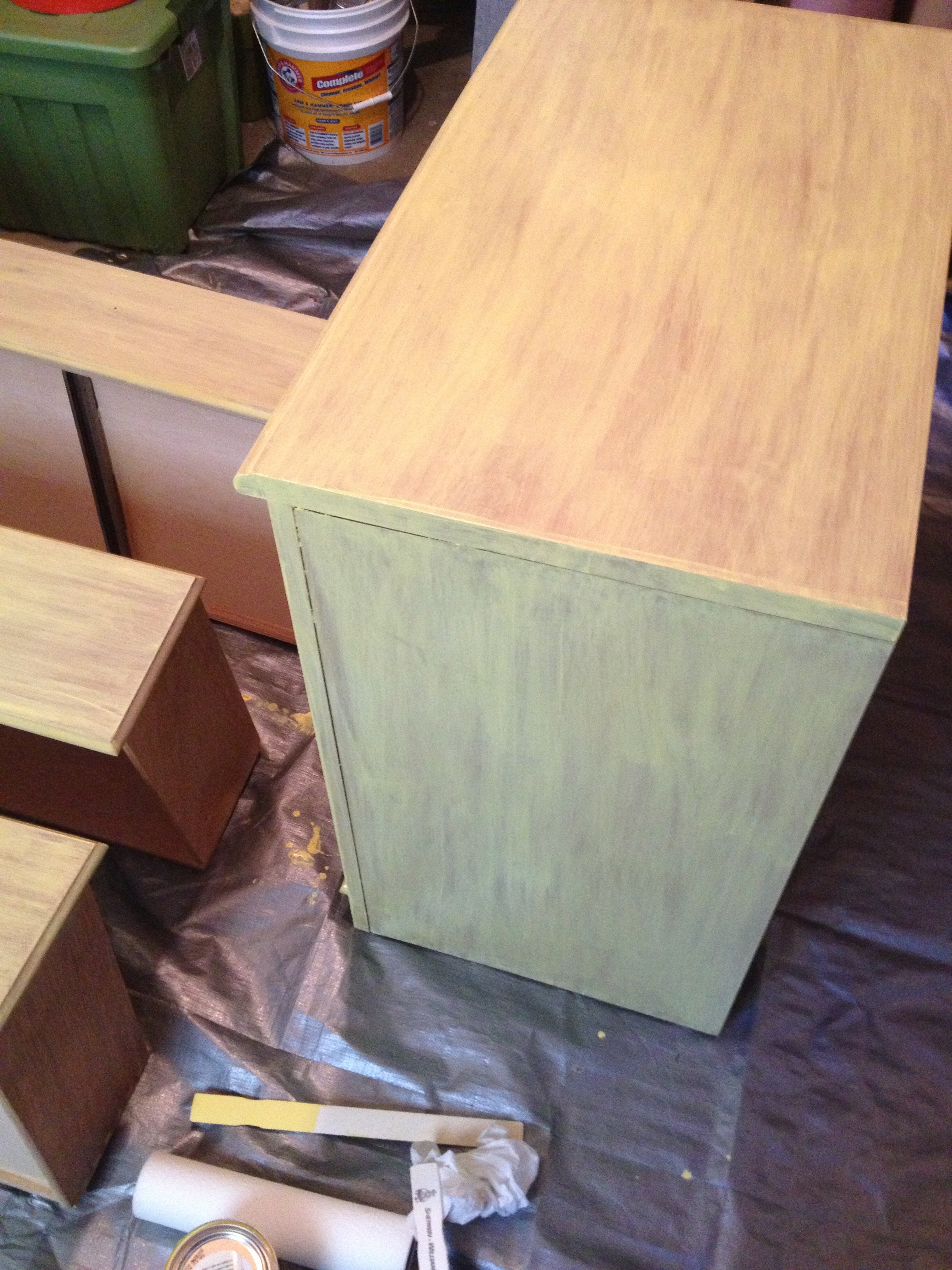 After one coat of yellow stain