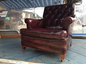 Ebay Distressed Burgundy Club Chair $250