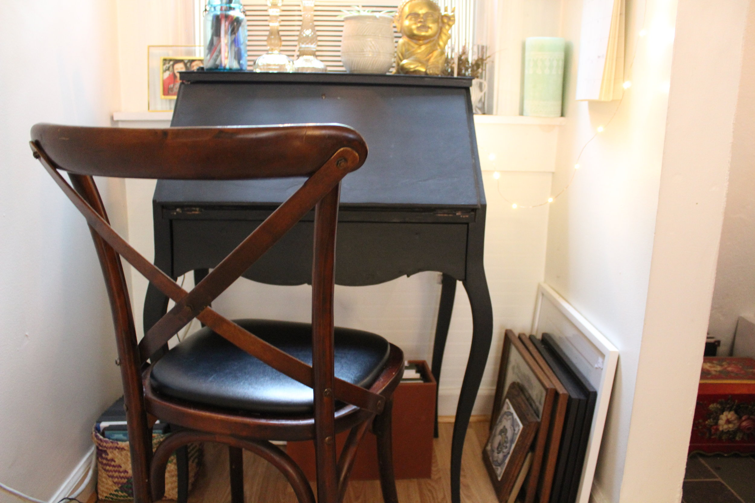- This desk chair is the only recent new item I've picked up... but it was free! A local restaurant was getting new chairs and gave away all the old ones for free. I love the timeless style and its the perfect size for my small desk. Also getting this chair allowed me to move my antique chair forward!