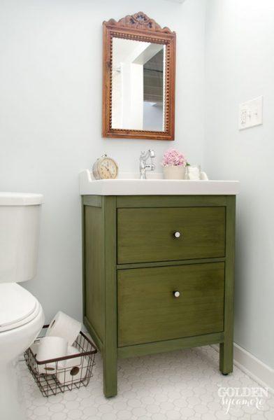 green-bathroom-vanity-ikea-hack-antiquing-wax-392x600.jpg