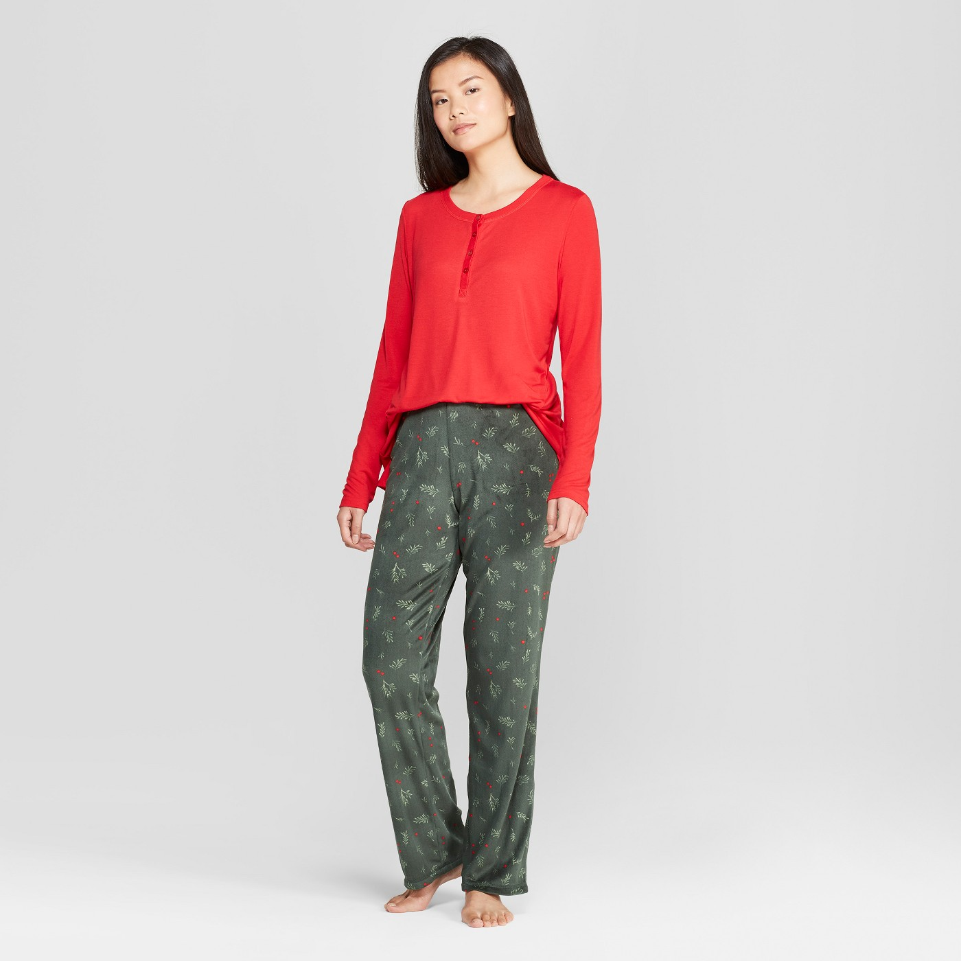 Cozy Fleece Holly Berry Pajama Set $19 - I CANNOT get enough of these pants!! I've done extra laundry just so I could wear these another night. The material is like a silk meets velvet & in my favorite color. The shirt is cute and festive but a little see through.Click here to shop