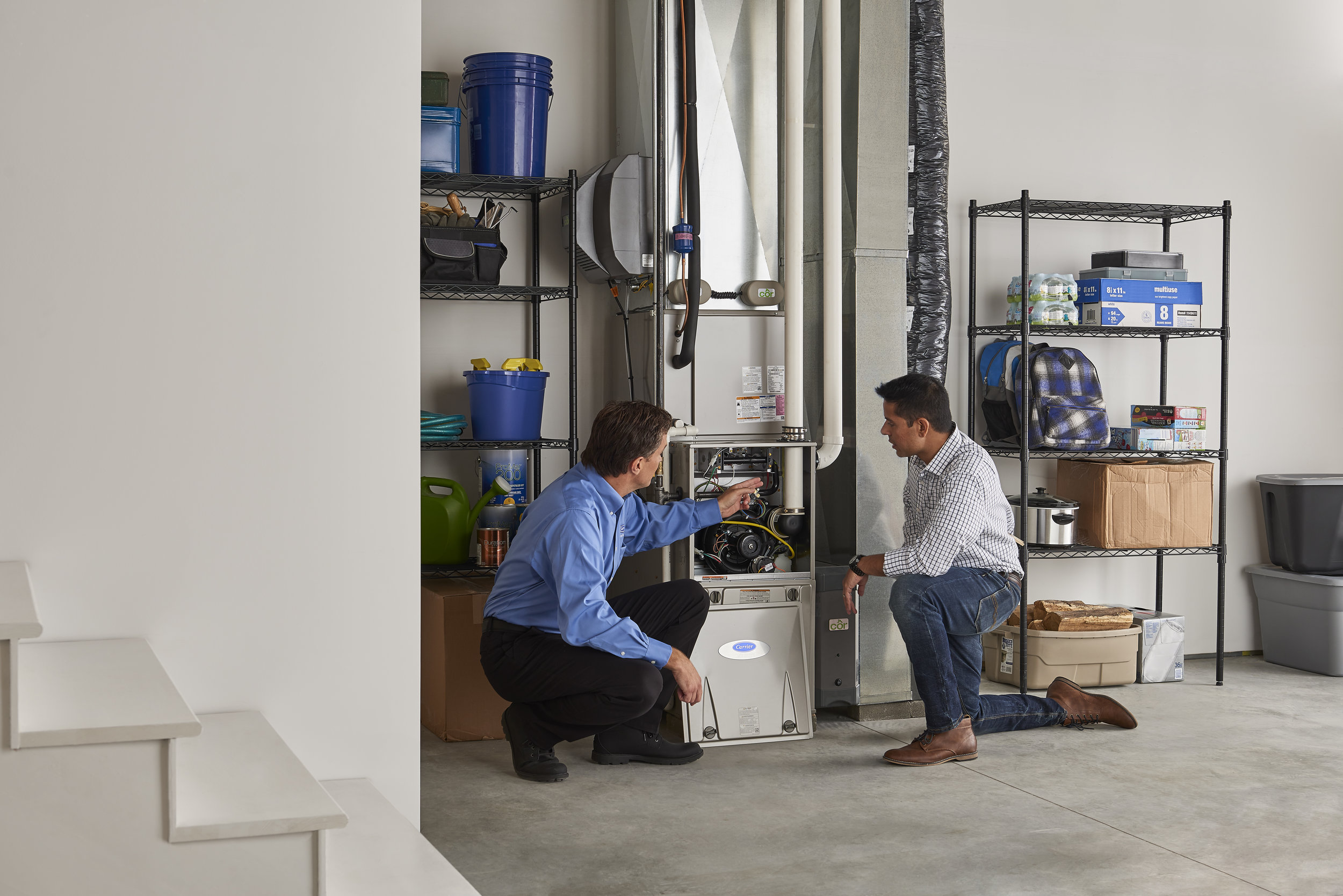 REPAIR - Is your furnace making a funny noise? Is your air-conditioner on but blowing warm air? It may be time to schedule a service call. Your technicians service all makes and models and will arrive at your home prepared to diagnose your heating or air-ciondioner problem.