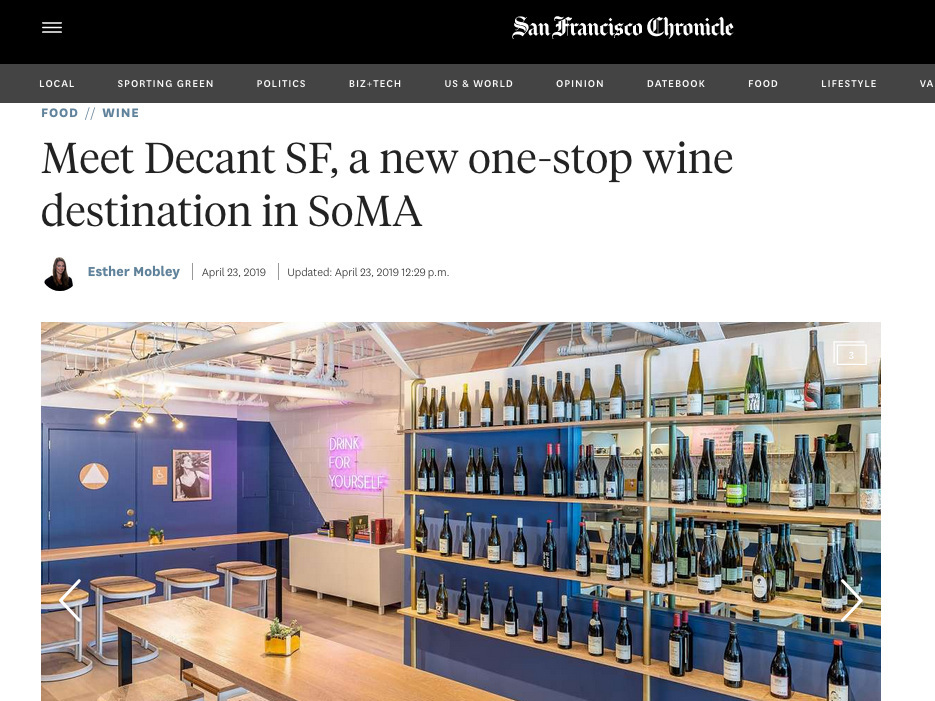 by Esther Mobley, San Francisco Chronicle Wine Critic - April 23, 2019.