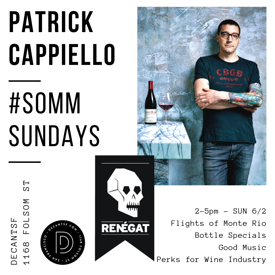"Patrick Cappiello is the founder of  Renégat Wines , owner of  Monte Rio Cellars  and Wine Director of  Walnut Street Café . He is also the Chef Sommelier for  Daniel Johnnes ""La Paulée"" , Food & Wine host for  Playboy  and founding member of  Winemakers & Sommeliers for California Wildfire Relief ."