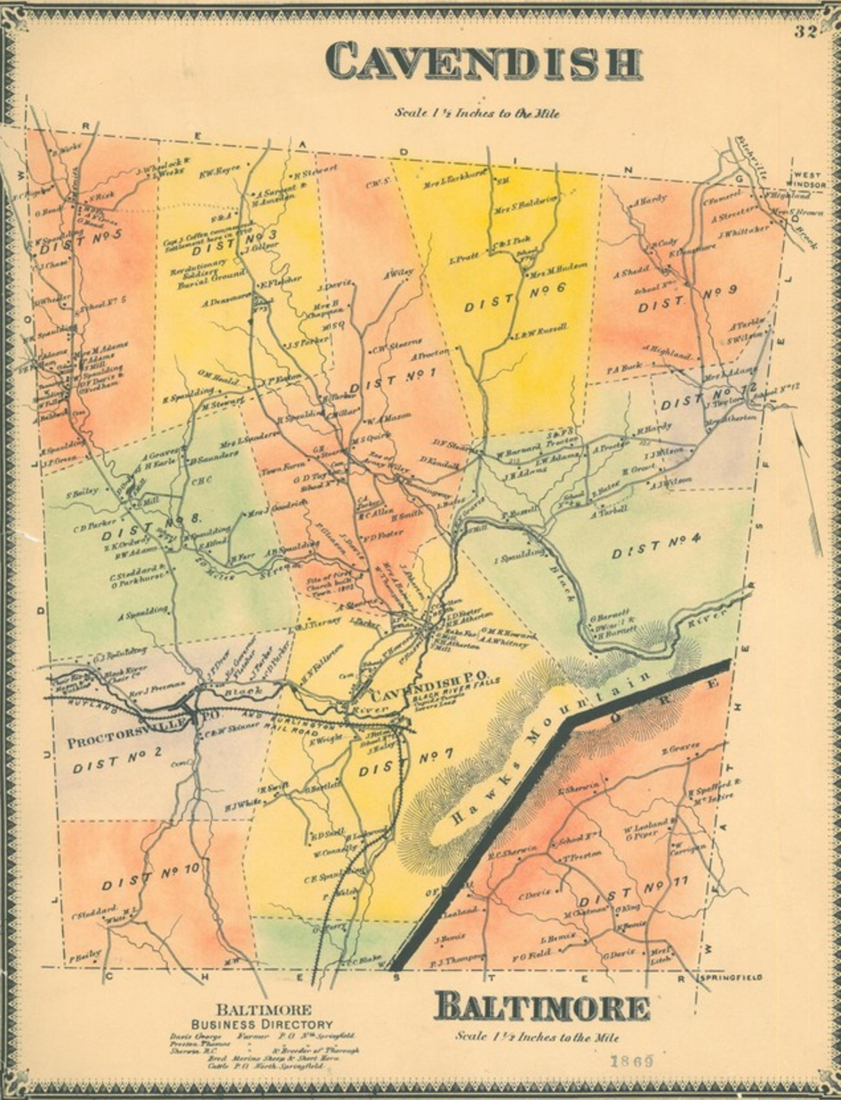 1869 Map of the Town of Cavendish | Beers Atlas 1869  Includes the ten historic school districts
