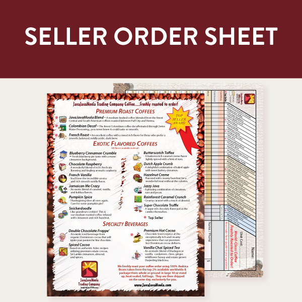 Seller uses this sheet to take orders from customers for coffee &  specialty beverages.