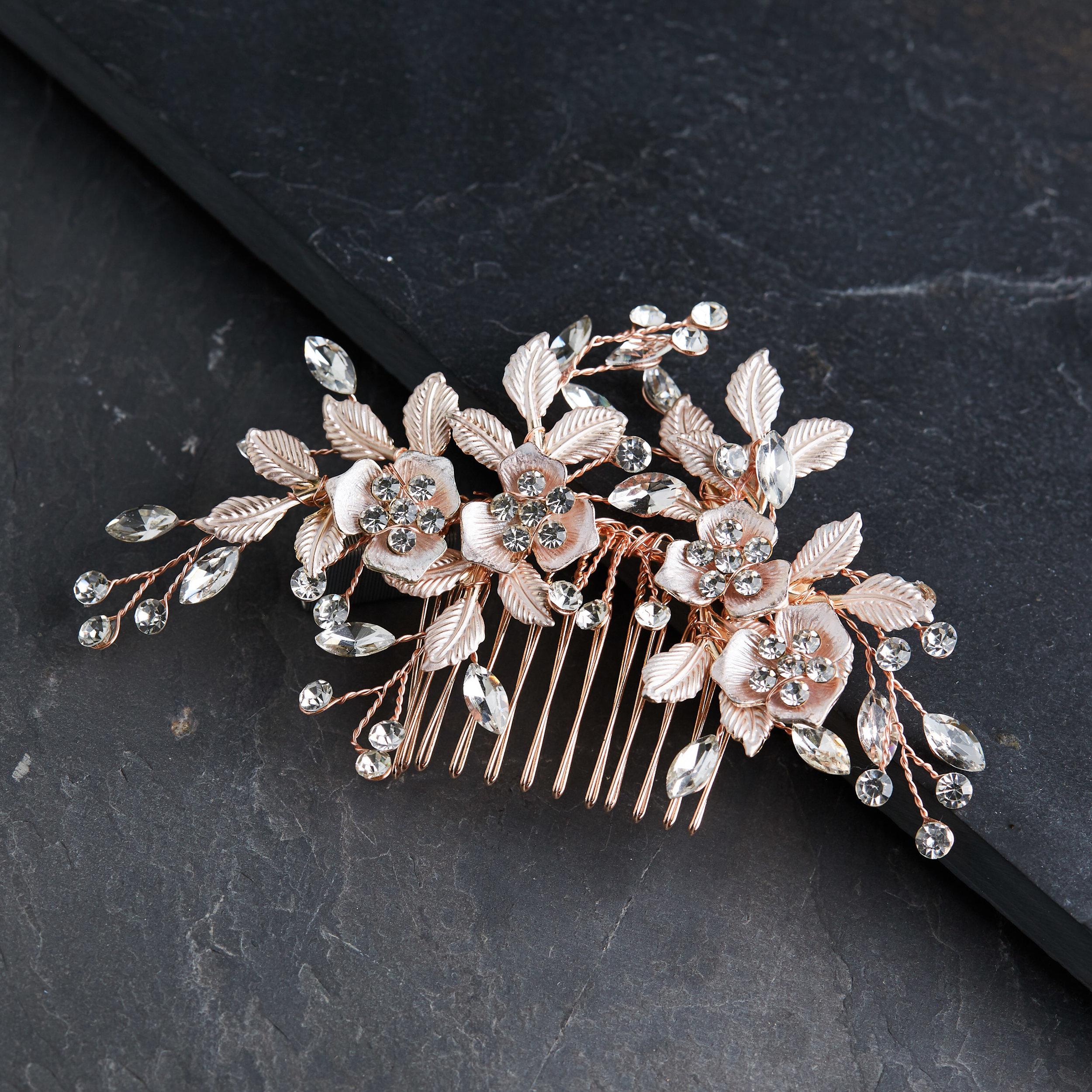 Rose Gold Rhinestone Floral Bridal Hair Comb Behind The Seams Bridal