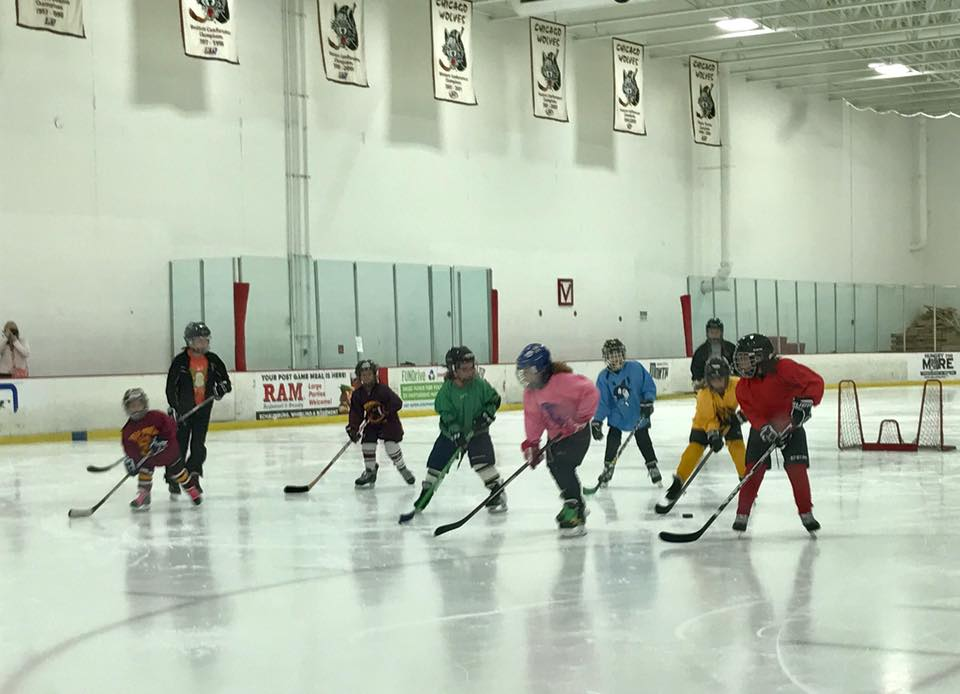 Wolverines players and coaches assisting beginner/mite girls at Give Hockey A Try event, July 2017