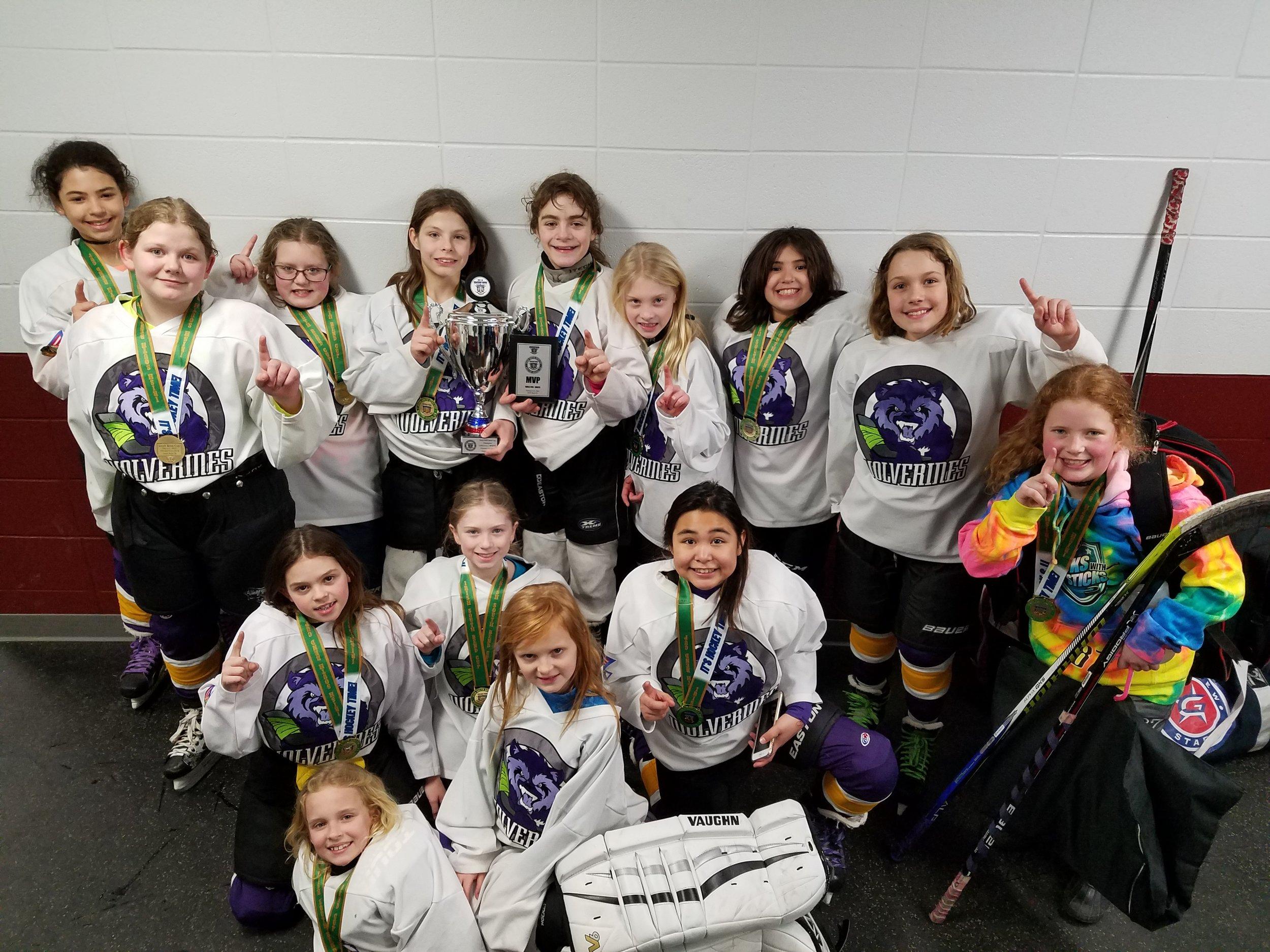 U10 champions at Girls Irish South Bend Cup, Feb 2018