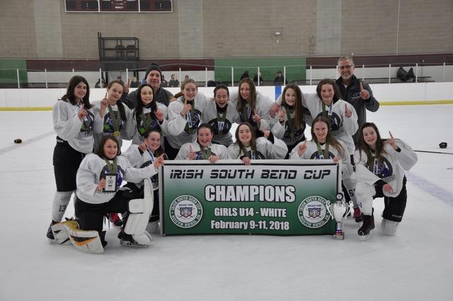 U14 champions at Girls Irish South Bend Cup, Feb 2018