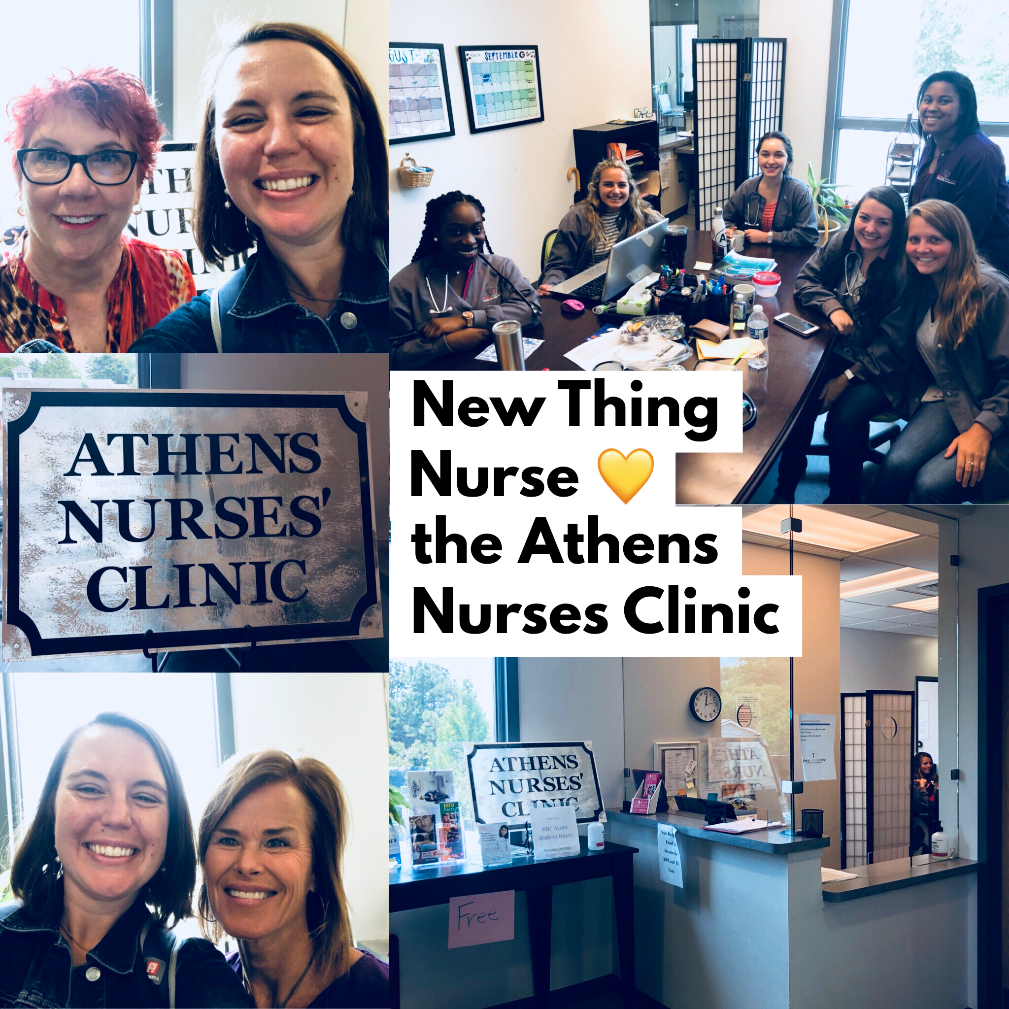 Top Left: Sarah & Paige M. Cummings, Executive Director of the Athens Nurses Clinic (ANC); Bottom Left: Sarah & Annabella Uhde, Office Administrator & Interpreter of ANC; Top Right: 2018 student interns; Bottom Right: The front desk of ANC on North Ave.