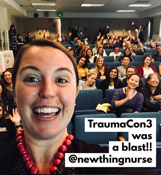 Photo: Sarah K. Wells, MSN, RN, CEN, CNL being a giant nerd while speaking at San Francisco ENA's TraumaCon3.