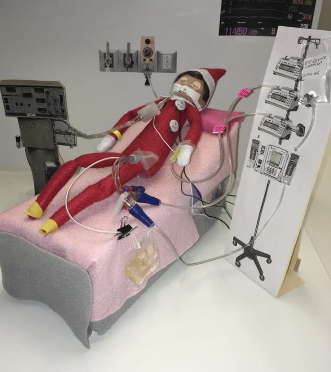 Elf on the Life Support II - This guy has enough sedation, but WHAT DID Y'ALL DO TO HIM?? And the bigger question - what did he do to y'all?
