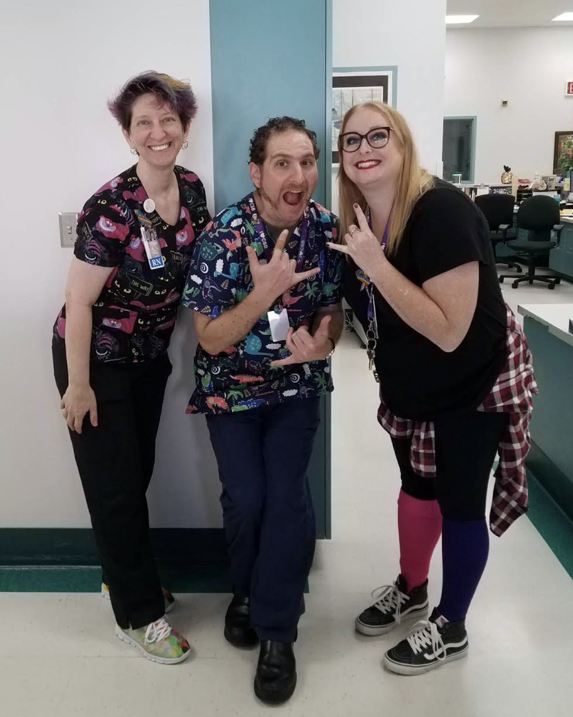 Photo: Ted and colleagues in the fun scrubs on Crazy Hair/Punk Day during spirit week.