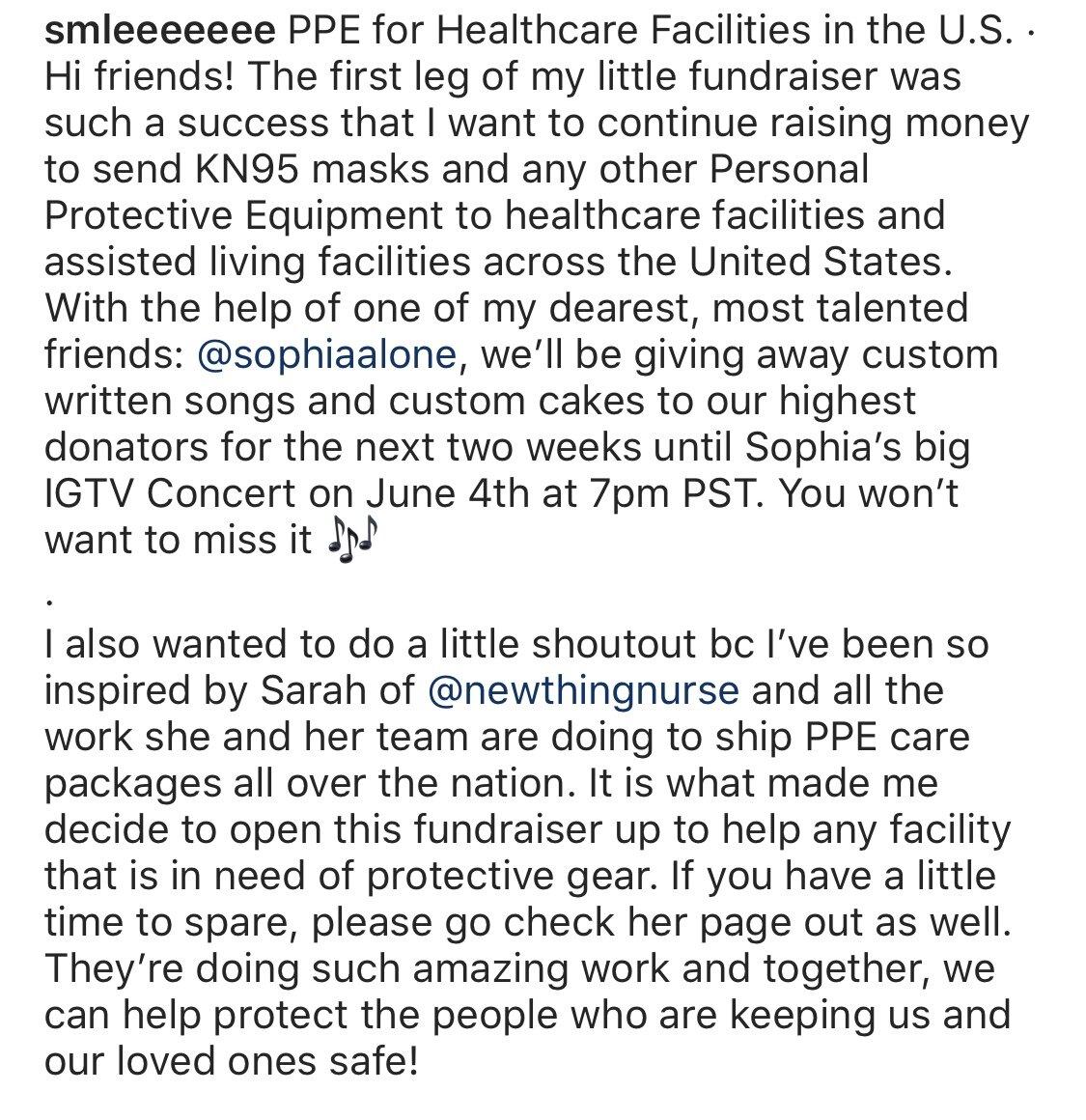 5/21/2020:一名新必威博彩app下载事物护士追随者启动了她自己的募捐活动,将个人防护装备送到需要的医疗机构,并向NTN大声喊话,鼓励她的努力。❤️