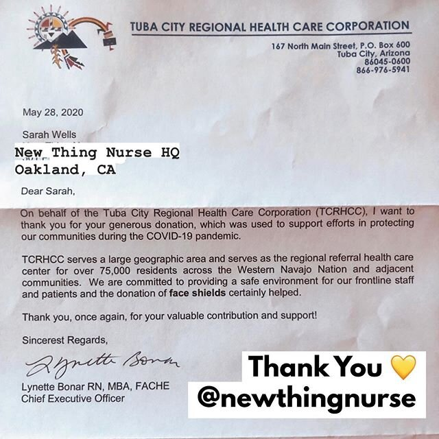Omg #newthingnursetribe - the @newthingnurse #PPE Care Package Project got a thank you letter from #Arizona where we sent #faceshields to support #healthcare workers caring for the Western #NavajoNation and surrounding areas  ••••••••••••••••••••••••••••••••••• If you have donated to our GoFundMe or bought an #effingessential product, YOU are helping make a difference!! #thankyou ••••••••••••••••••••••••••••••••••• For more updates & photos    //www.relocateyourcar.com/donate-now-ntn-ppe-fundraiser •••••••••••••••••••••••••••••••••••  @newthingnurse