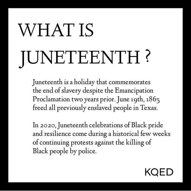 今天是#juneteenth和感谢这些图形由@kqed,你可以了解什么#juneteenth表示&你怎么能放心地在人与在家荣誉#juneteenth。#beheard #besafe #blacklivesmatter #allyship