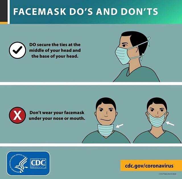#covid19案件风起云涌。每个人都可以帮助佩戴#mask正确地减缓蔓延。感谢您的@cdcgov作出这种视觉展示了如何不戴口罩及这样做的正确方法。据我的研究已经看到,喉部保护和一切,但鼻镜显示风格将永远是有效的。♀️#wearamask#stopcovid19 #coveryourmouth #coveryournose #pleasepleaseplease