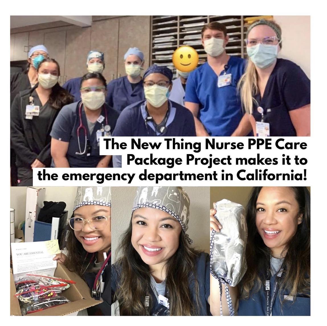 2020年8月8日:加利必威博彩app下载福尼亚斯托克顿市一家社区医院急诊科收到了一套护士个人防护装备护理包,里面是手工制作的磨砂帽。点击上面的图片阅读更多!