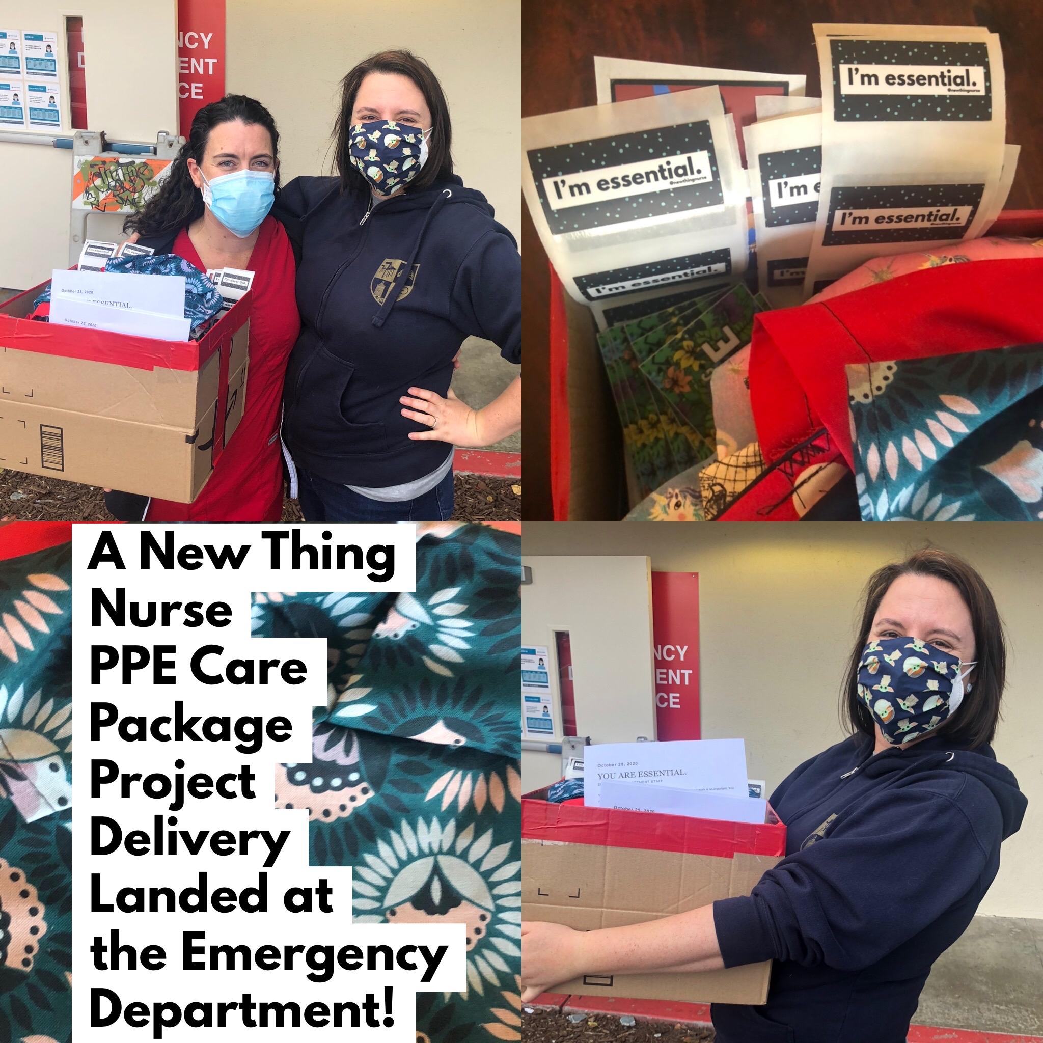 2020年10月25日:80个护士自制的磨砂帽被送到阿尔塔贝茨顶峰医疗中心的急诊室!