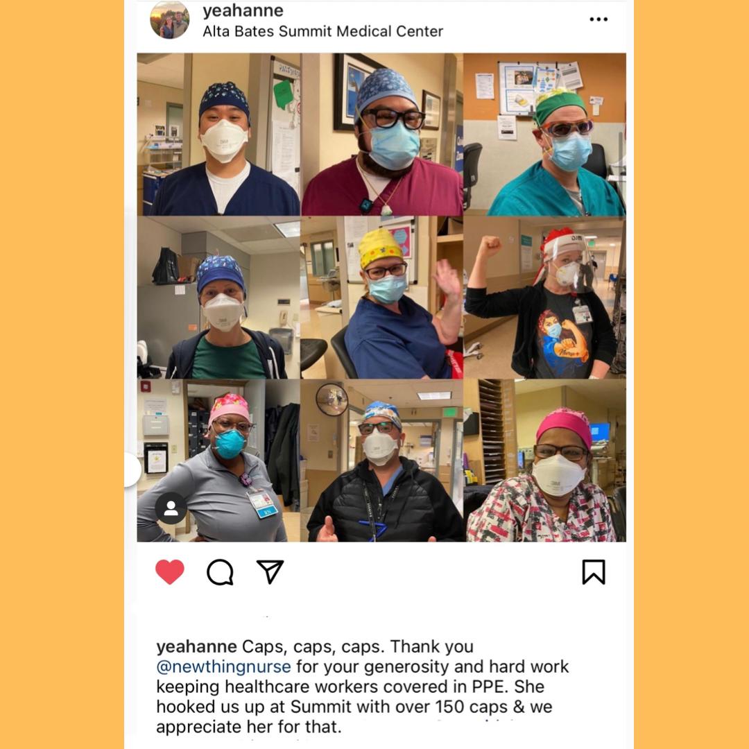 2021年1月30日:共有150多名护士制作的手术帽被送到奥克兰阿尔塔贝茨医疗中心急症部的不可思议的工作人员!!这是在2个下降,1在秋天&1月底。感谢@yeahanne成为我们的联络人。交付的志愿者!我们希望员工能得到感激和支持。支持他们继续为社会服务!!#谢谢