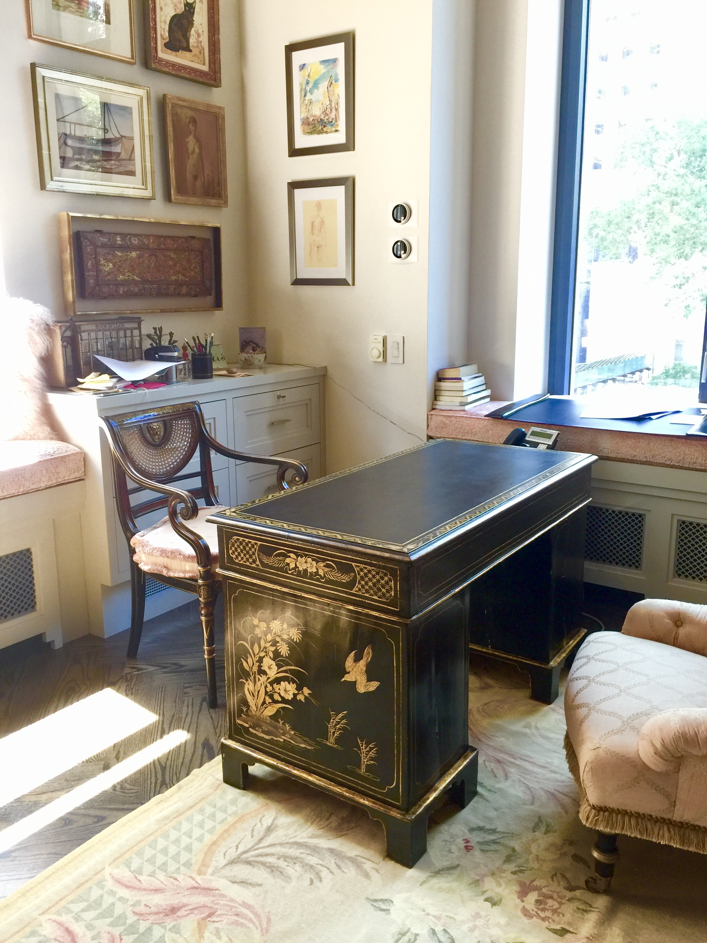 office with custom cabinetry and restored antique desk