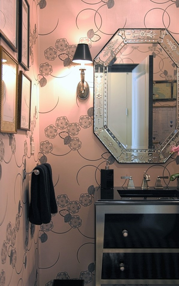 art deco powder room