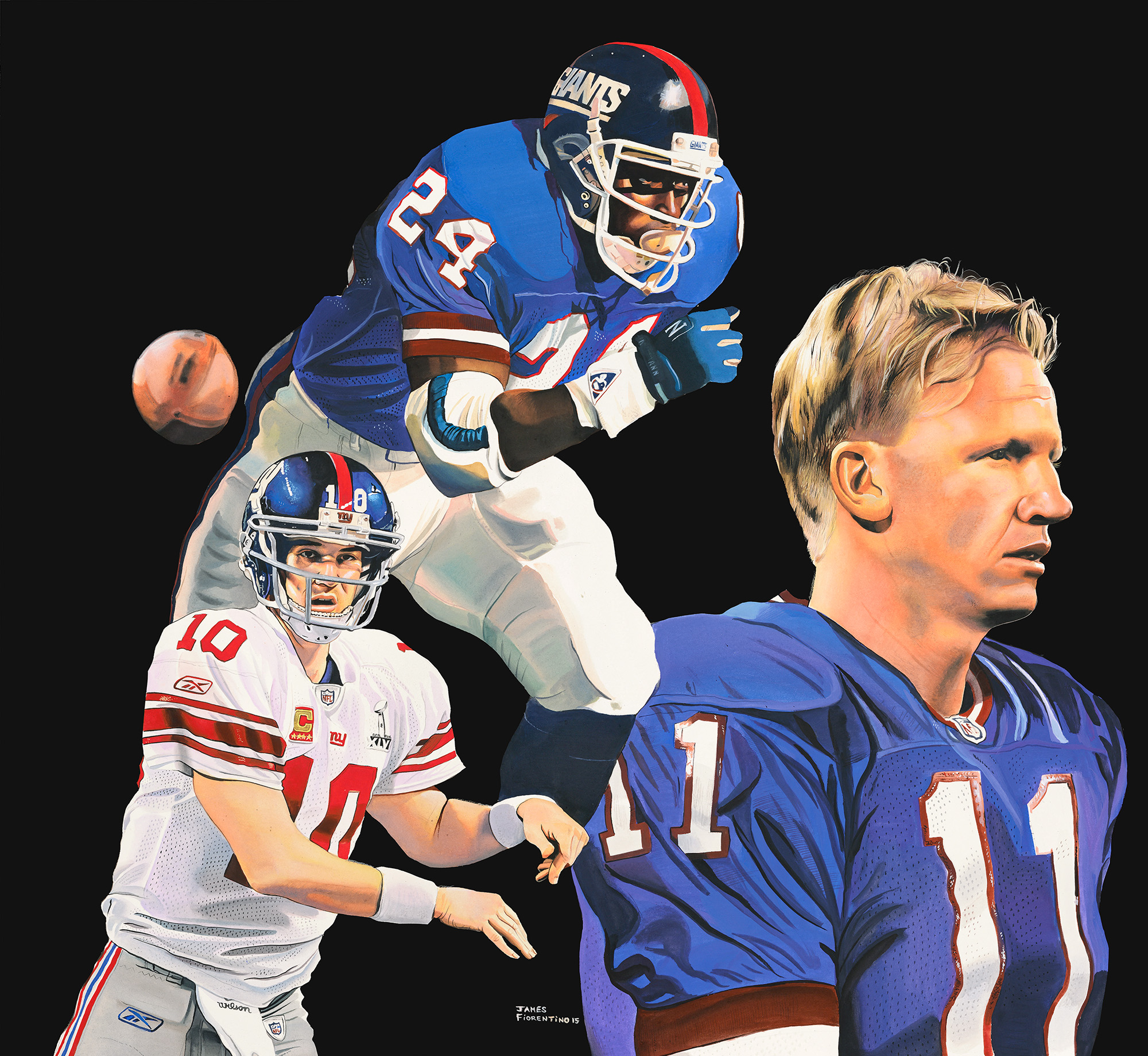 Giants MVP - Autographed by Simms, Anderson and Manning (36 x 36)Call 908-782-8509 For Pricing