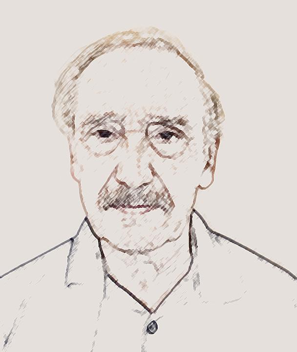 Eduardo Darino. Self-portrait, based on photo by Victoria Smolinski.