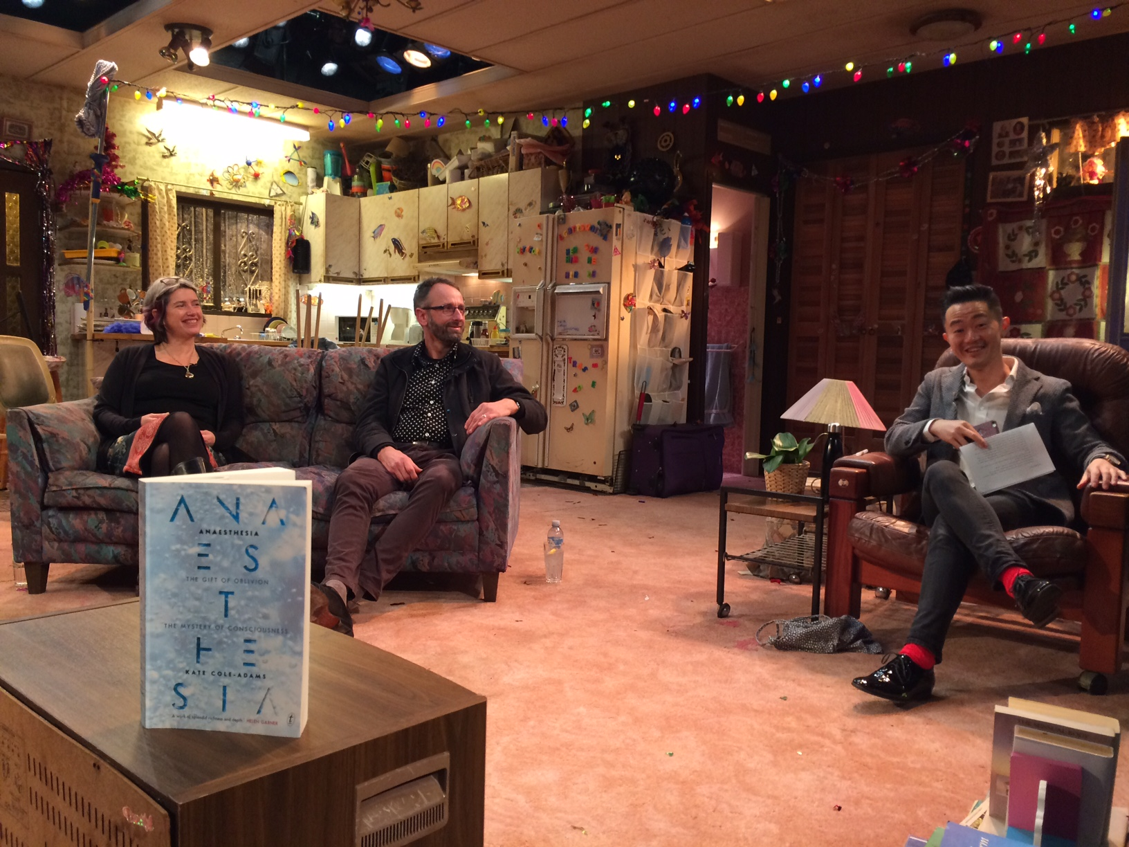 Centre stage - At Sydney's Belvoir Street Theatre, talking anaesthesia with Tim McCulloch and chair Benjamin Law.
