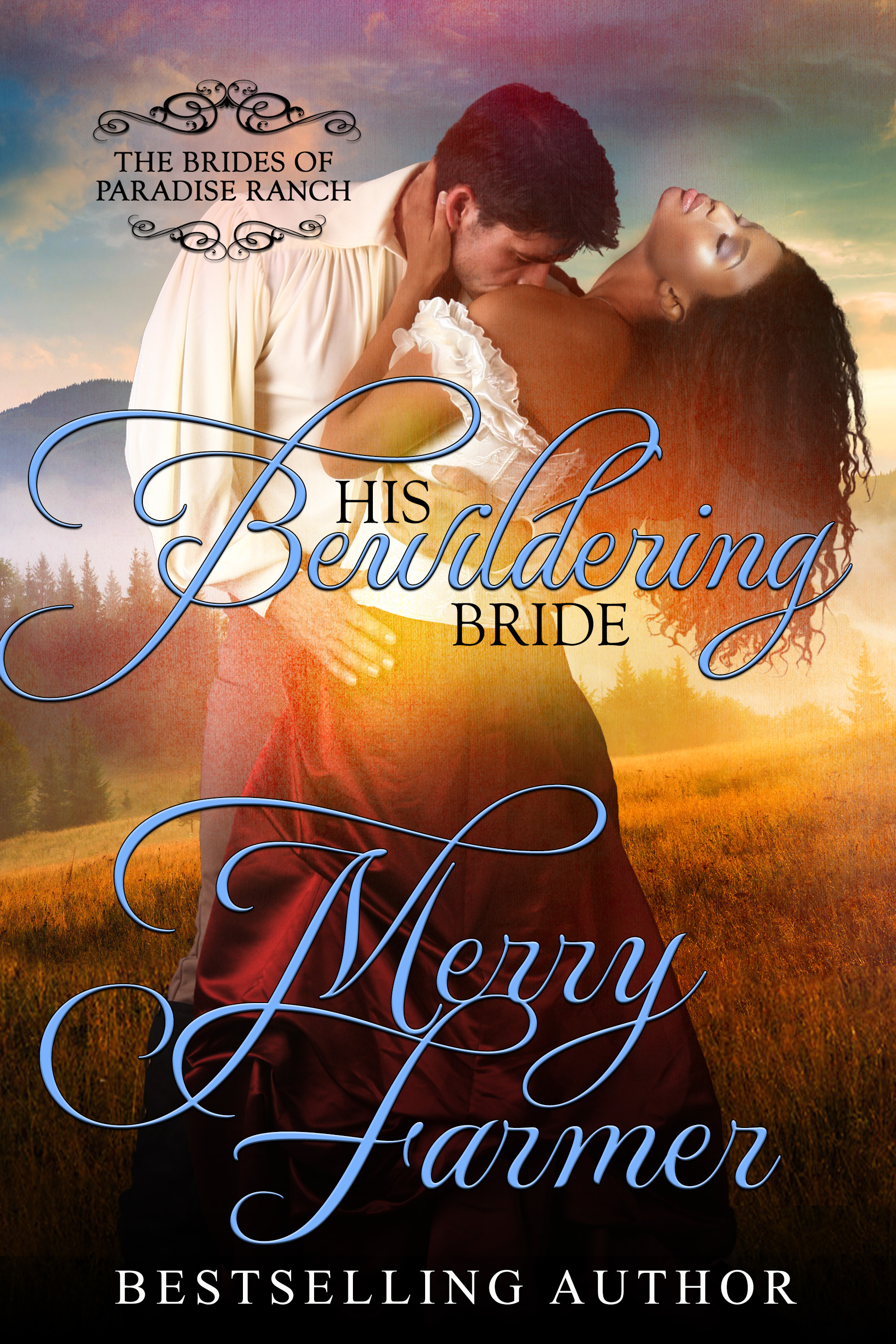 """His Bewildering Bride (Book 3) - Seamstress Wendy Weatherford is overjoyed when she is offered the chance to be a mail-order bride for one of the men of Paradise Ranch. When she arrives in Haskell, Wyoming, her intended groom takes one look at her and refuses to go through with the wedding. He wasn't expecting his bride to be a former slave. Abandoned at the altar and alone on the frontier, Wendy doesn't know where to turn.Until rescue comes in an unlikely form.Travis Montrose has plans to start a new job and eventually own his own ranch, not to marry his brother's rejected bride. But he can't stand by and watch the exotic and beautiful Wendy suffer, particularly not when she proves to be a woman of strength and substance. Their unconventional union stirs up trouble from the start, even as it stirs passions.When Wendy is given an opportunity to compete for the chance to own her own dress shop, Travis will stop at nothing to help her win against a crooked competitor…even if it means sacrificing his future.PLEASE BE ADVISED: Steam Level = HOTIf you would like to read this story without any """"scenes,"""" check out Wendy: The Bewildering Bride"""