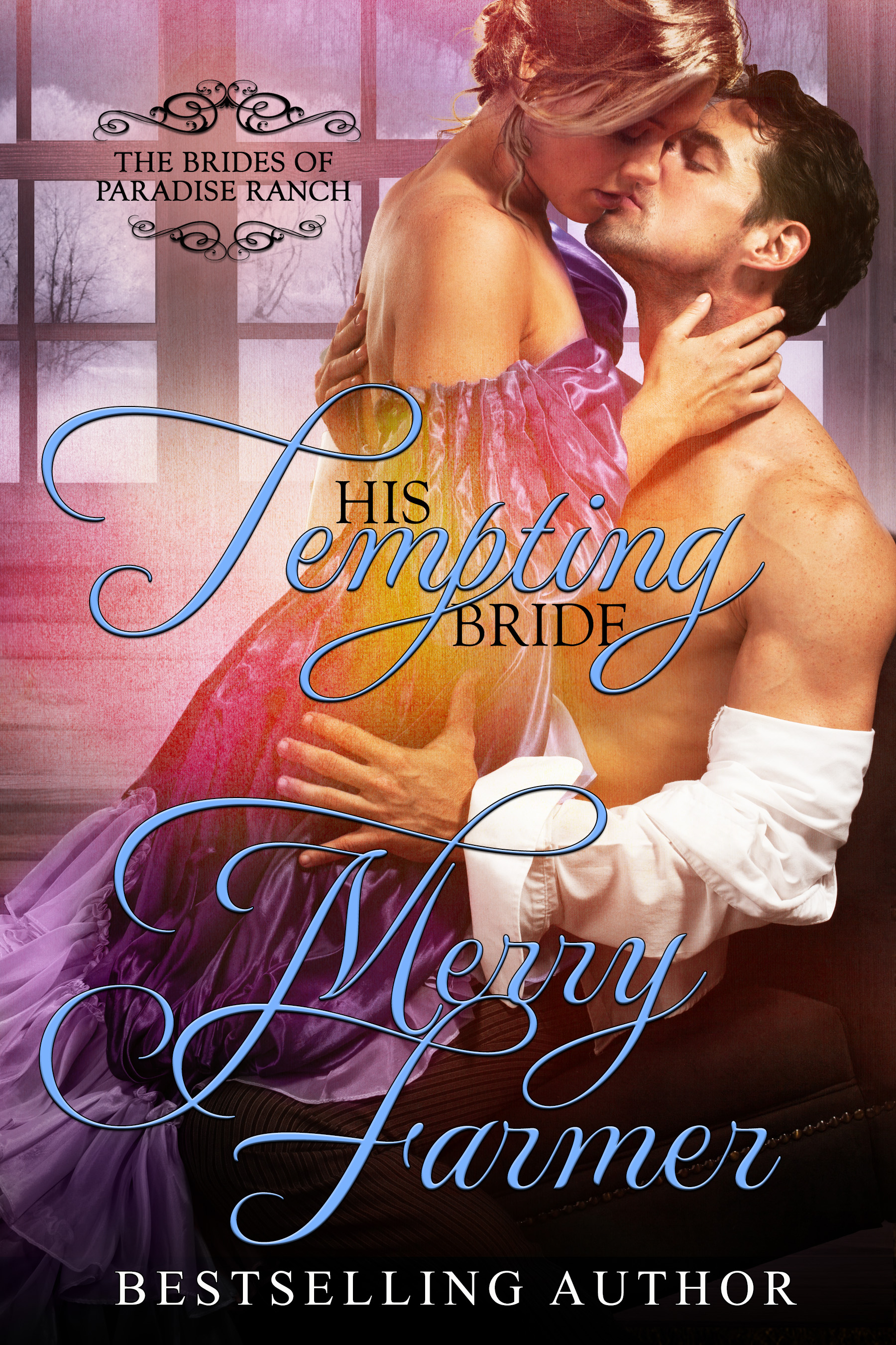 """His Tempting Bride (Book 5) - Miriam Long has been running for her whole life—running from her sinful past, running from her shameful mistakes, and running from the guilt of chickening out of her one chance to start over. But now, several hard months after refusing to get off the train and marry the man who sent for her as a mail-order bride, Miriam finds herself in Haskell, Wyoming once more. Only this time, more lives than just hers are at stake.Cody Montrose is instantly smitten with the fun and flirty woman he meets by chance at Haskell's train station…until he learns that the object of his temptation is the very bride who stood him up. Anger battles with desire as the two of them struggle with the disaster that should have been their union months ago.But there's more to worry about than their complex romance. Miriam has come to town with a traveling troupe of gypsy performers, and if they can't sing for their supper, they will all starve. In true Haskell style, the town rallies behind them, but is it enough to save the day and to rekindle the romance that both Miriam and Cody missed out on before?PLEASE BE ADVISED: Steam Level = HOTIf you would like to read this story without any """"scenes,"""" check out Miriam: The Tempting Bride."""