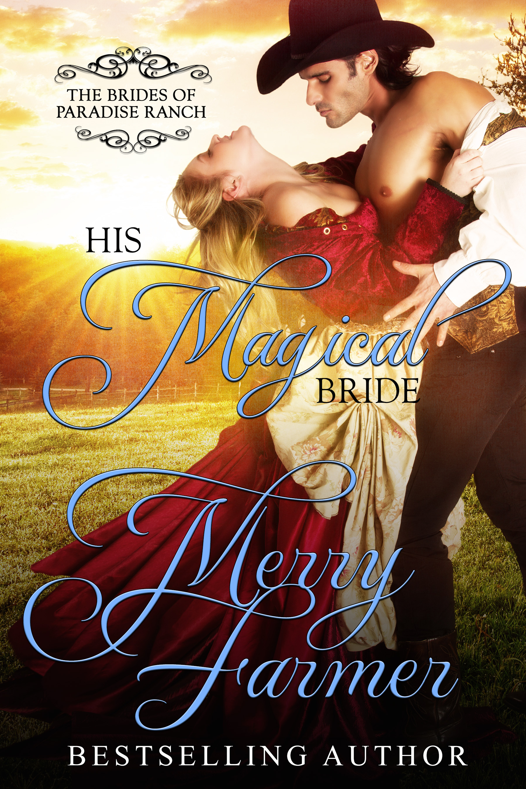 """His Magical Bride (Book 10) - Haskell, Wyoming sheriff, Trey Knighton, has never considered himself the marrying sort. He'd rather face down a whole pack of bloodthirsty outlaws than give his heart away, especially after losing his entire family to cholera as a boy. Love is just too big of a risk. But Howard Haskell has twisted his arm into sending away for a mail-order bride, and he's too much of a gentleman to turn her away. He's convinced everything will be fine if his marriage is in name only.Talia Lambert is overjoyed not only to have a home and a husband at last, she's eager to put her skills as a nurse to good use. She gets her chance only days after arriving in Haskell when influenza breaks out. She is happy to be of use, but as the attraction between her and Trey grows, so does Trey's fear that disease will take her too if she continues working with the sick.But Talia and Trey face a danger more sinister than disease when her healing skill is labeled as witchcraft. Trey must defend Talia against the ridiculous accusations, even as he overcomes his fears to find with Talia the love he has always been missing.PLEASE BE ADVISED: Steam Level = HOTIf you would like to read this story without any """"scenes,"""" check out Talia: The Magical Bride."""