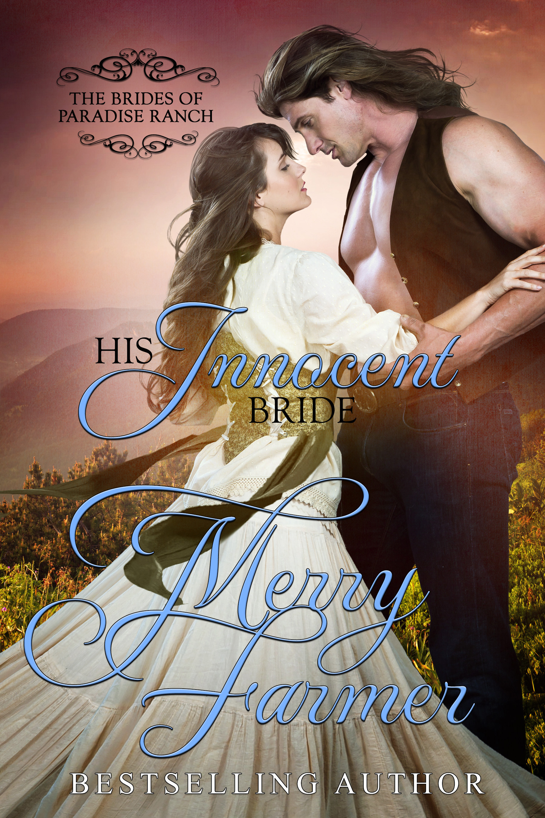 """His Innocent Bride (Book 11) - Everybody else was doing it, so why not him?Sam Standish has always prided himself on being a rough and rugged frontier saloonkeeper. Just because he likes to keep things neat and tidy, appreciates good home cooking, and thinks a grandfather clock would be a fine addition to any home does NOT mean he's the settling down type. But he sends away for a mail-order bride anyhow, expecting that once she arrives, his life will be as boring as plain toast.Julia Frost is a whirlwind in pink cotton who comes from a long line of people that have met early, gruesome, and unfortunate ends. But she's determined to make Sam happy…even if she has to drag him there kicking and screaming. Life in Haskell is everything Julia has ever longed for. She even finds a bosom friend in Bebe Bonneville.But chaos breaks loose when Julia and Bebe find a clue that indicates robber's loot is hidden in the saloon. And Sam's predictable world is turned on its head when Hubert Strong comes to him for help in wooing and winning Bebe. Will one set of sweethearts be able to help the others start a new life together (possibly with loot!) or will Rex Bonneville put an end to more than one romance?PLEASE BE ADVISED: Steam Level – HotIf you would like to read this book without any """"scenes"""", check out Julia: The Innocent Bride."""