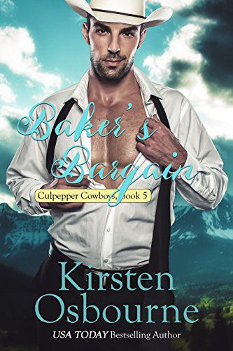Baker's Bargain (Book 5)by Kirsten Osbourne - Grace Quinlan is tired of living under her parents' thumbs. She's done volunteer work for years as a baker, and she feels it's time to spread her wings and open her own bakery. She takes her cousins, who are equally skilled in baking, along with her twin, and they move to Culpepper, Wyoming, where her older sisters have all found love.When lawyer Marcus Wells meets Grace on her first day in Culpepper, he immediately knows she's the woman he wants to spend the rest of his life with, despite her propensity for telling him awful lawyer jokes. After spending a few days together, getting to know one another, he immediately asks her to marry. Can she overcome her strict upbringing and find happiness with him? Or will her past haunt them both for the rest of their lives?