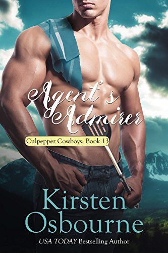 Agent's Admirer (Book 13)by Kirsten Osbourne - Megan Barrows has always loved her job and her home in Culpepper, Wyoming, but lately she's been unsettled. She feels like her life is stagnating and it's time to move onto something more. Her daily battles with Bob Bickel, the proprietor of Bob's Burger Barn, are all that keep her going sometimes. The man is testy and difficult…and handsome and sweet.Bob Bickel has finally achieved his dream of owning a restaurant with all of his own recipes on the menu. He's having a difficult time perfecting a taco burger, so he enlists the help of Megan, the most faithful customer he has. Together they work to perfect the burger several of the pregnant women in the area crave, while learning more about each other. Will Bob's worries of the future keep him from taking a chance with Megan? Or will the two of them work through their issues to find out what a true partnership could mean?