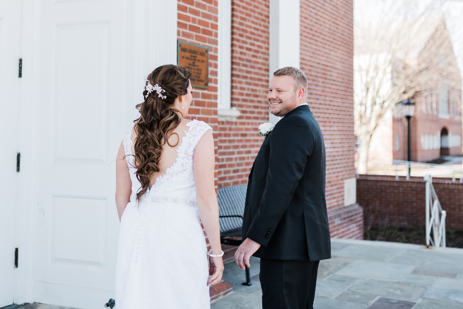 Groom sees his bride for the first time at McDaniel College