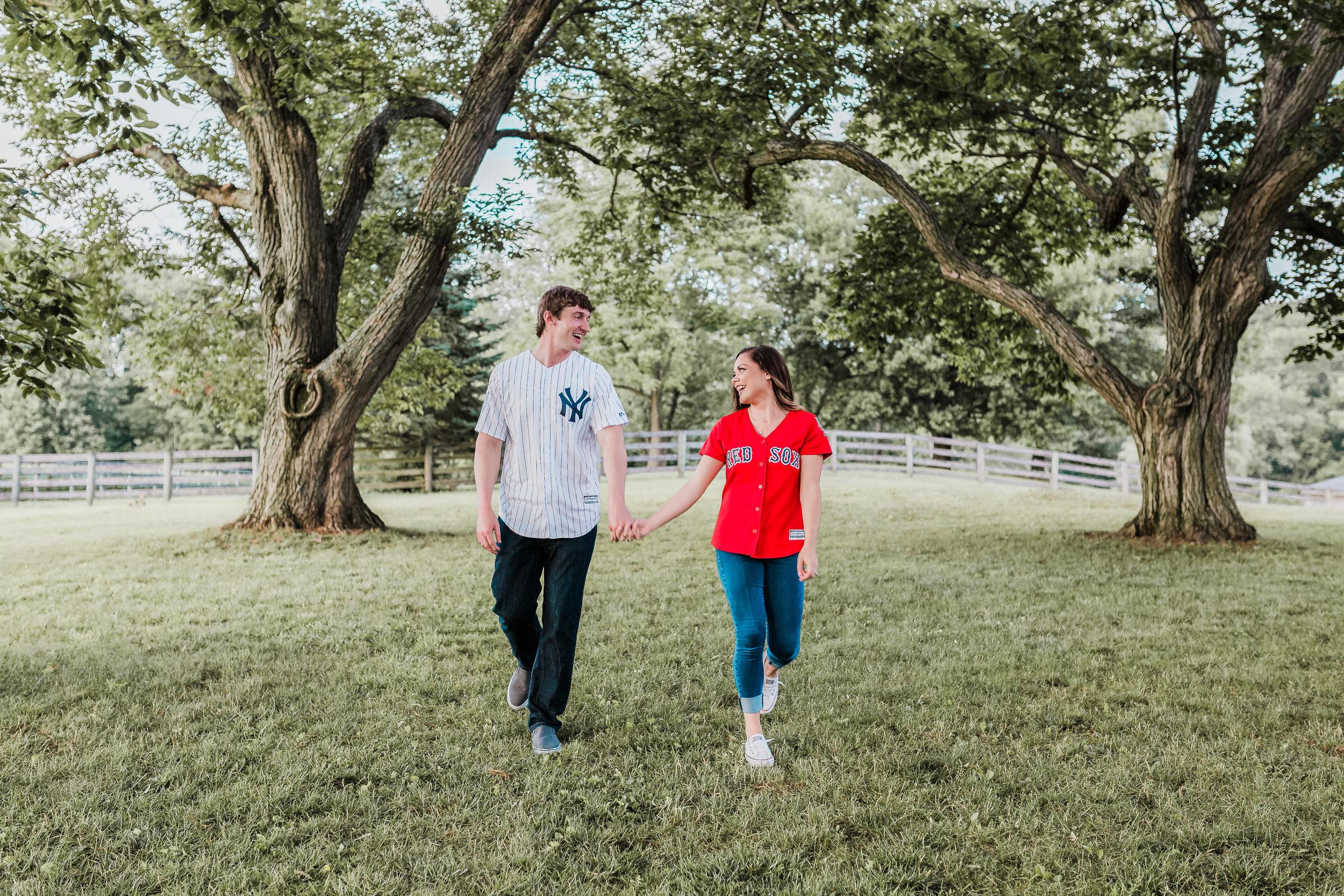 Engagement session couple walking