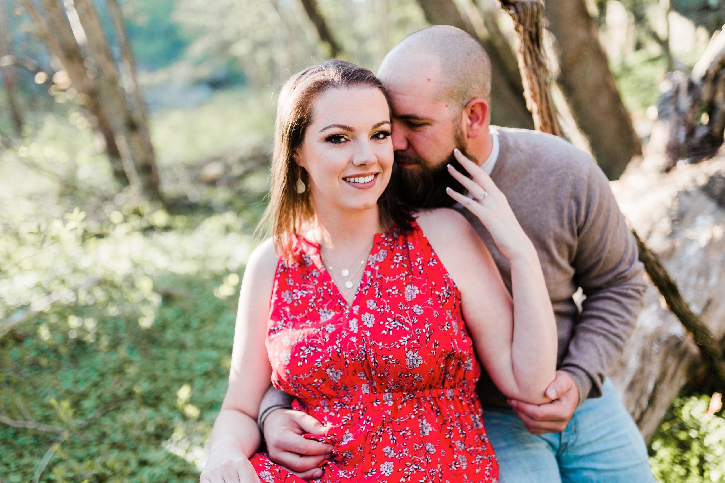 bride and groom romantically posed maryland engagement photos