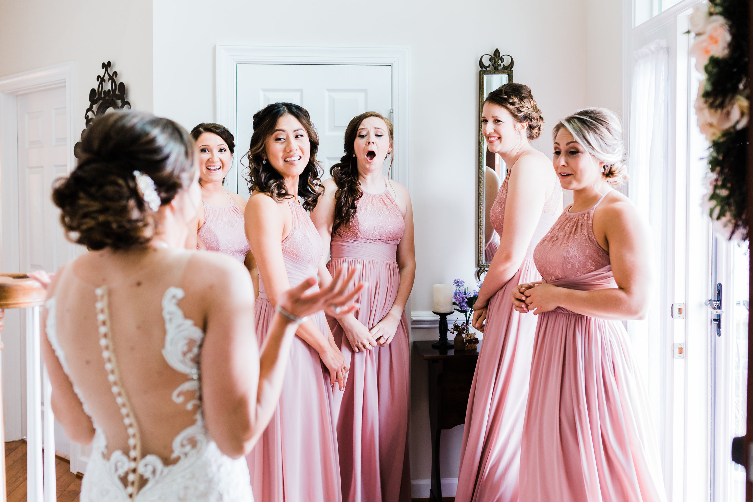 bridesmaids seeing bride for the first time on her wedding day in carroll county md