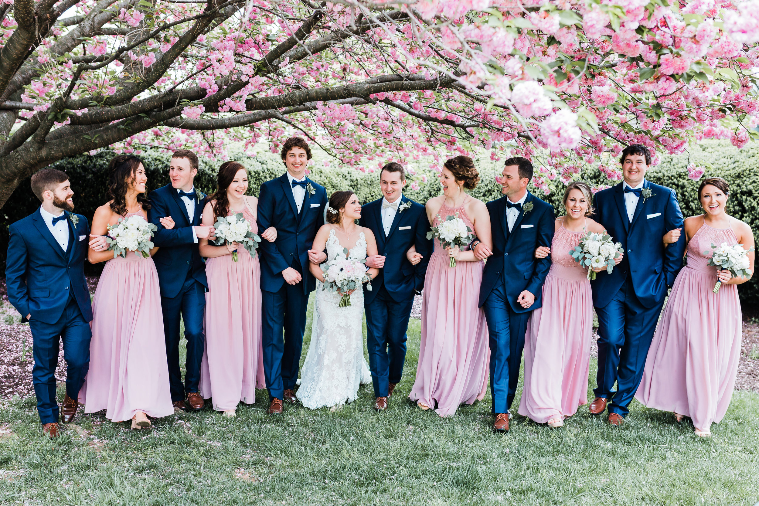 bridal party laughing together in carroll county md