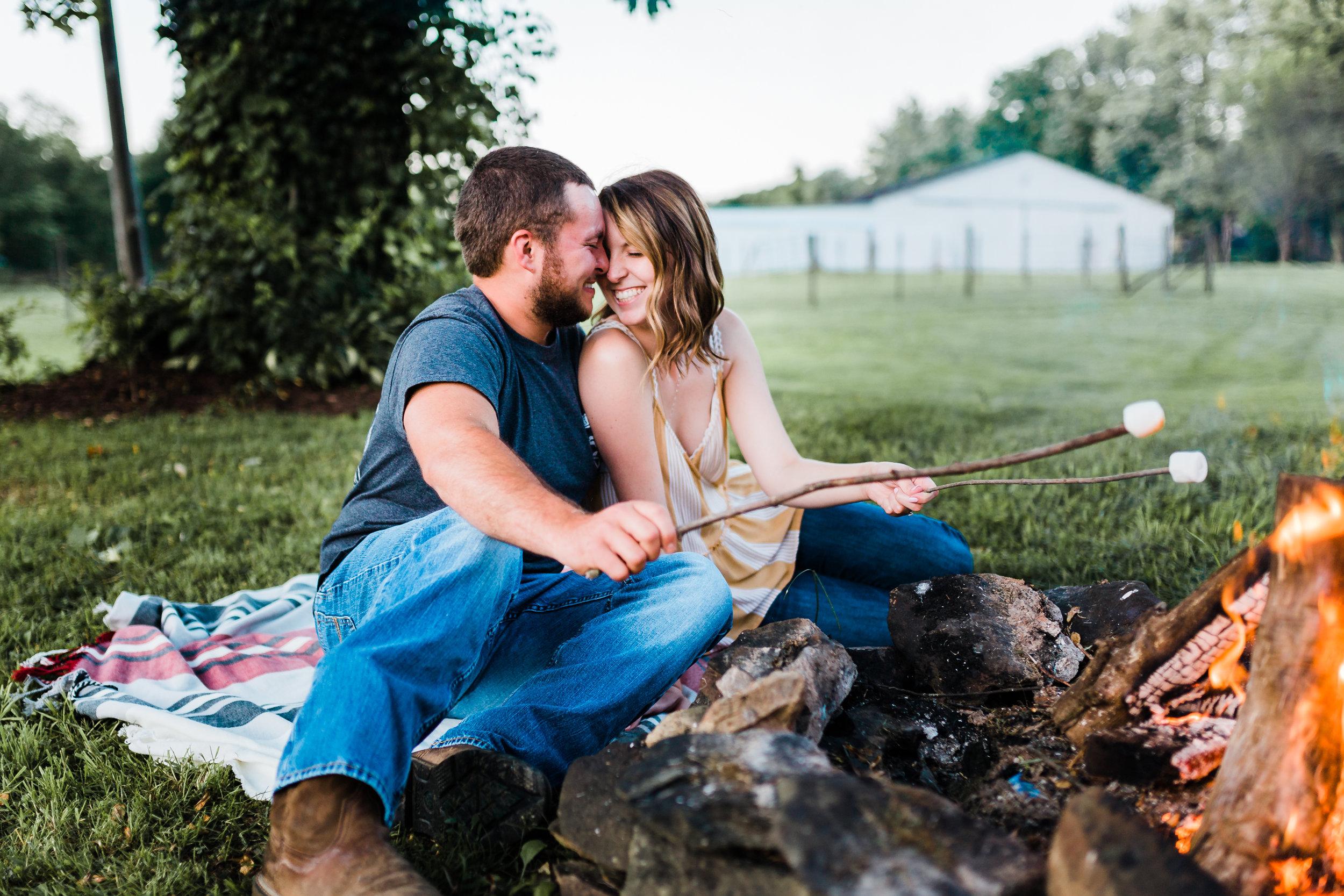 engagement session with bonfire - maryland photographer