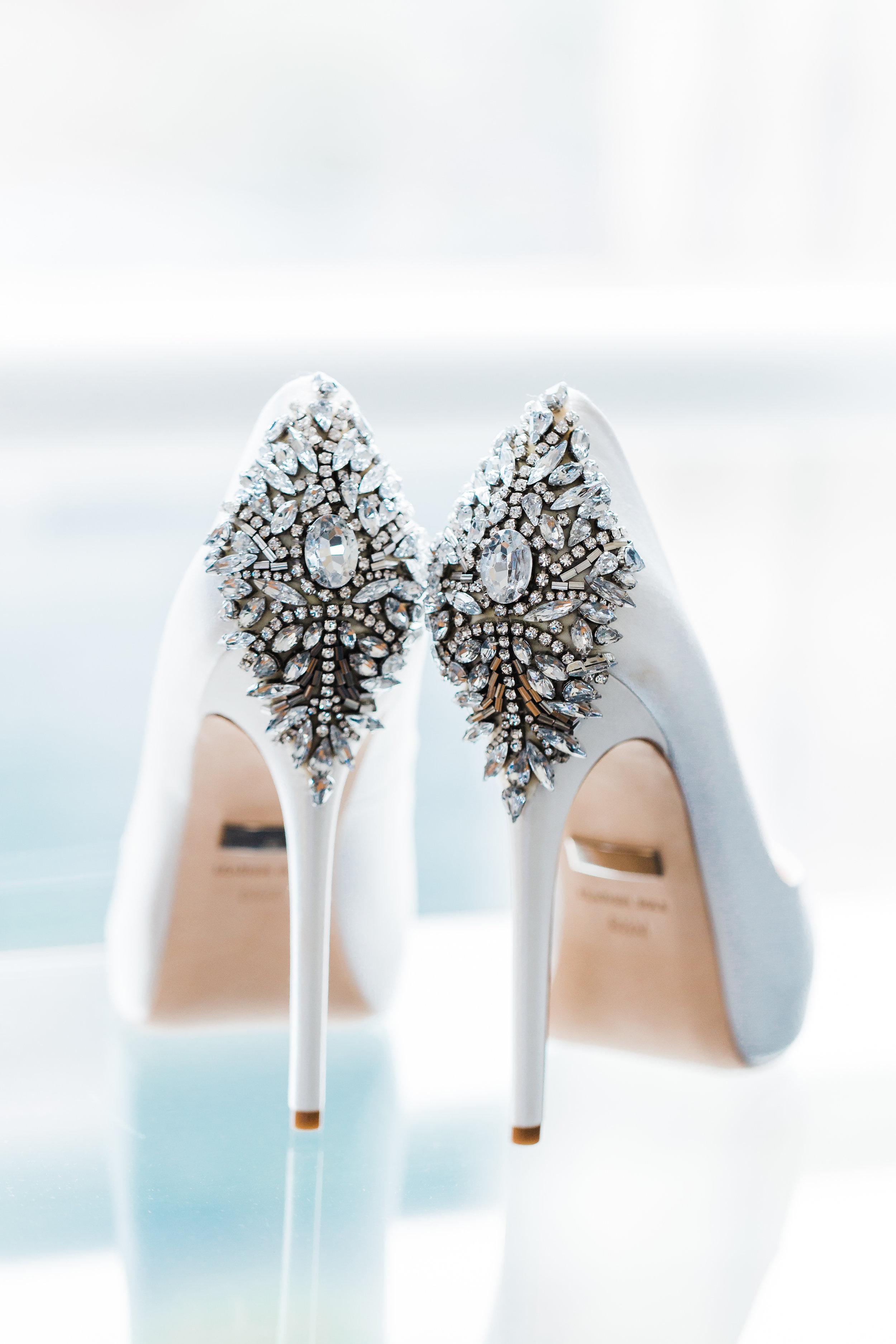 bridal shoes - badgley mischka, baltimore wedding photographer