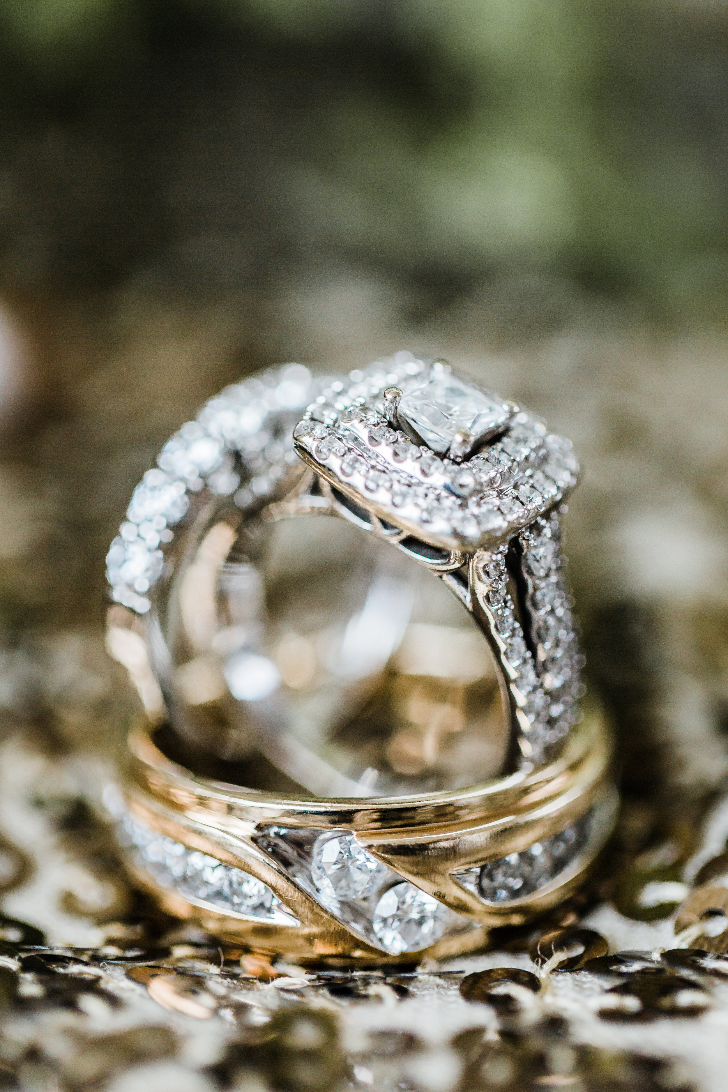 engagement ring and wedding rings baltimore maryland photographer
