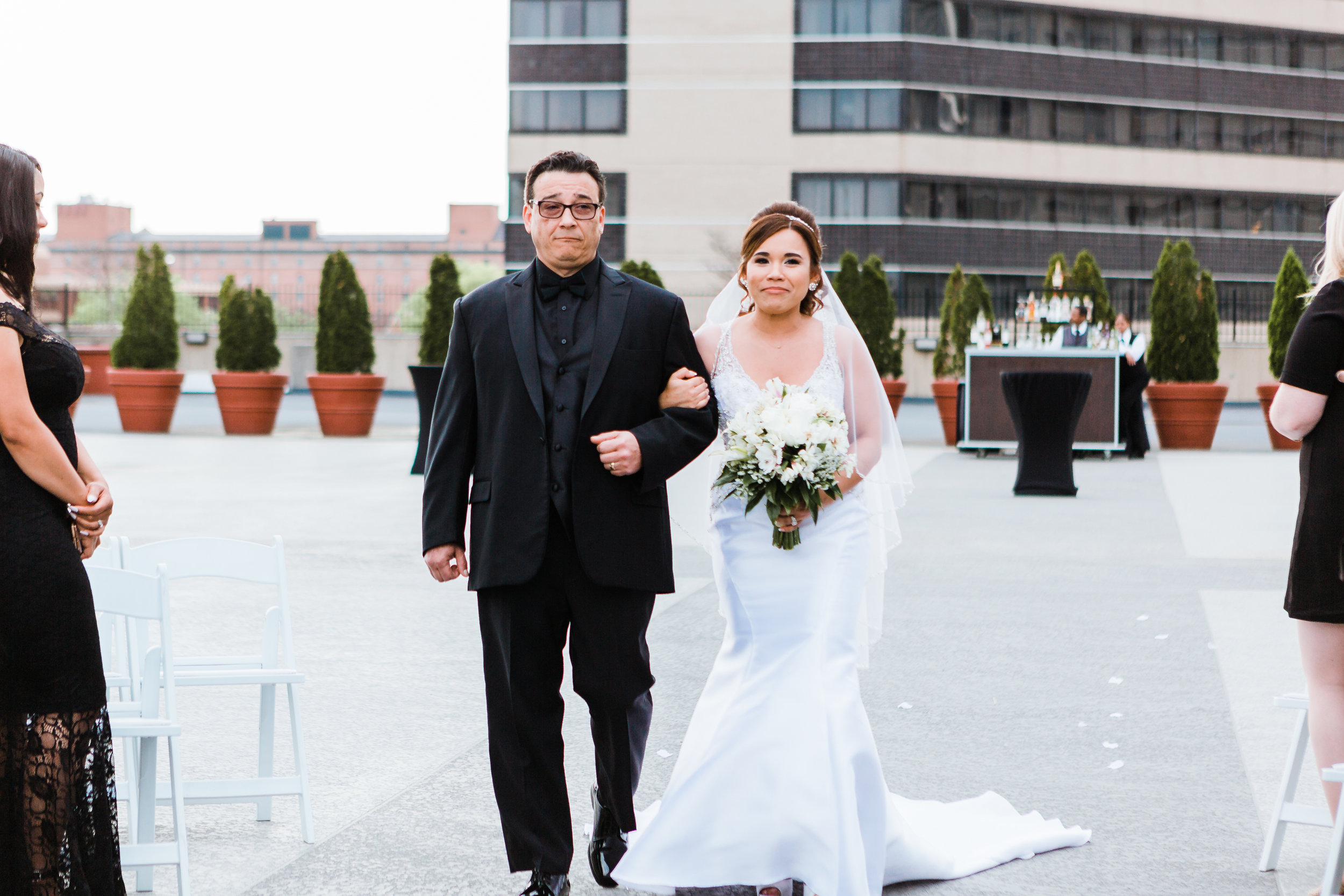 bride walking down the aisle in baltimore maryland