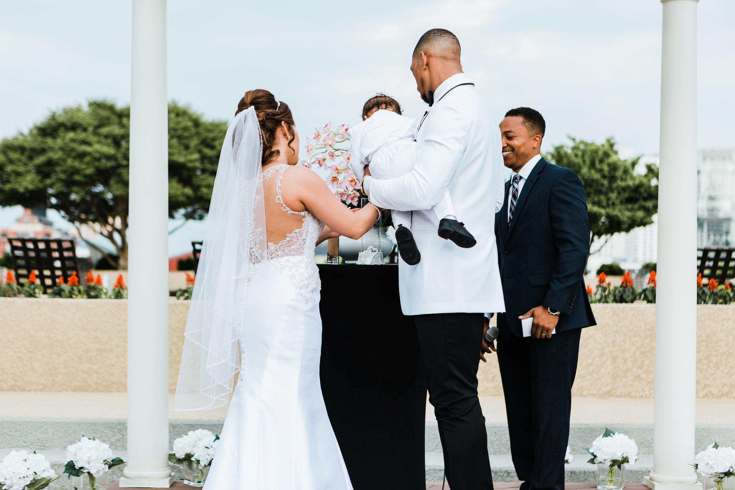 sand ceremony on hotel rooftop baltimore maryland wedding photographer